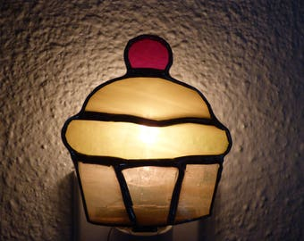 Cupcake Night Light, Yellow Stained Glass, Wall Plug In, On Off Switch, Lead Free Solder, Handmade, Kitchen, Bedroom, Food, Boys, Girls