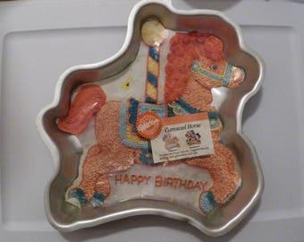 Cake pan, Carousel Horse, Wilton 2105-6507, Instructions, Carnival, Merry Go Round, Pony, Baking Mold, Cake Decorating, Birthday, Animal