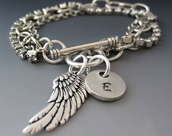 Personalized Silver Angel Wing Bracelet  / Custom Initial Charms / Hand Stamped / Gifts for Her /Guardian Angel Bracelet / Letter Charm