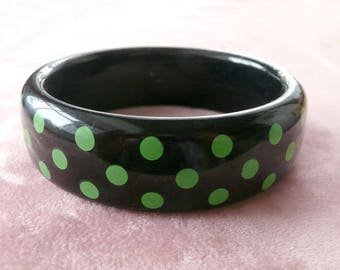 Bangle Bracelet Black & Green Polka Dots Retro Fun!