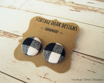 Plaid Earrings,Plaid Button Earrings,Plaid Earrings,Plaid Studs,Buffalo Plaid Studs,Plaid Jewelry,Button Earrings,Button Stud,Button Jewelry