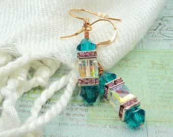 Stunning Teal Swarovski Crystal Earrings, Crystal Drop Earrings, Crystal Bridal Earrings