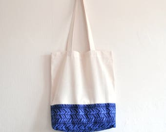 Shopper eco friendly tote market bag navy blue arrow triangle pattern lined print cotton zero waste produce shoulder bag.