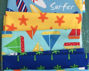 Sea and Sun cotton fabric 7 fat quarters of sea life by by Ann kelle for  Robert Kaufman fabric
