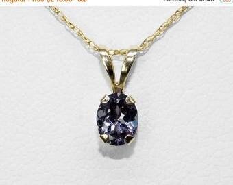 Blue Color-change Garnet Necklace in Gold, 5 x 4 mm