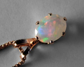 Ethiopian Opal Pendant in Rose Gold, 8 x 6 mm