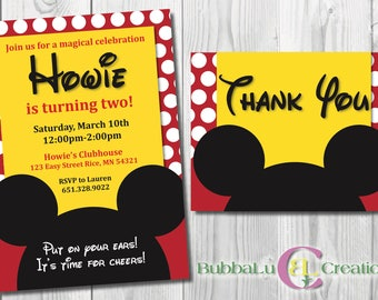 Mickey Mouse Birthday Invitation and Thank You. Personalized Mickey Mouse Invite. Mickey Mouse Party. Custom Birthday Invite. Mickey Mouse.