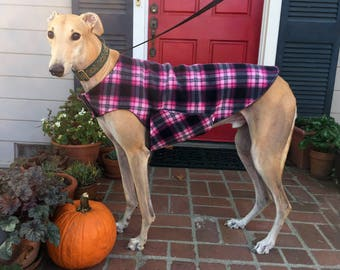 Greyhound Dog Coat, XL Dog Jacket, Hot Pink, Pink, Black, and Charcoal Gray Plaid Fleece with Charcoal Gray Fleece Lining
