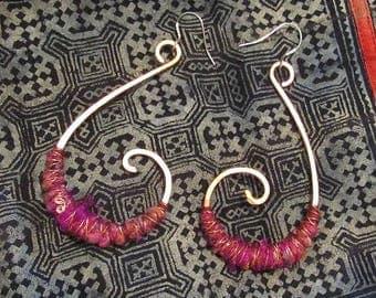 Tribal Hoop Earrings Jewellery Large Copper Spiral Hoops Red Pink Sari Silver Ear Rings Wire Wrap Boho Gypsy Dangle Jewelry Bohemian