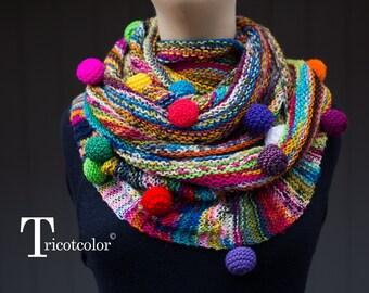 Châle femme Tricotcolor multicolore knit accessories boules étole scarf cadeau pour elle saint valentin tricot crochet knit schal mode