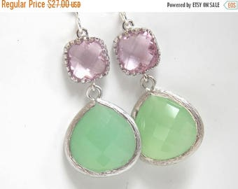 SALE Silver Green Mint Earrings, Light Green, Pink Earrings, Light Pink, Rose, Wedding, Bridesmaid Earrings, Bridal Jewelry, Bridesmaid Gift