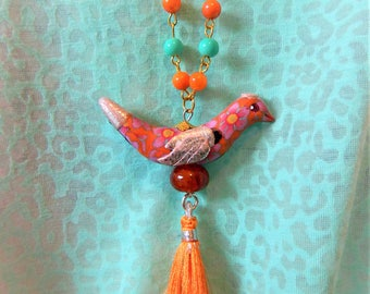 Bird pendant Orange Pink Silver Turquoise floral long tassel necklace trendy OOAK pastel agate bright colours lucky totem