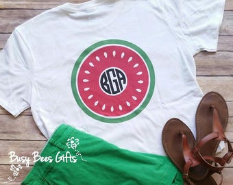 Watermelon Monogram Shirt * Watermelon Monogram * Summer Monogram Shirt * Watermelon Shirt * Monogram Shirt * Adult Soft Style T-Shirt