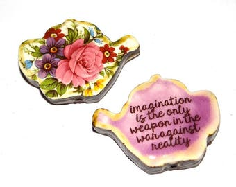 Ceramic Large Double Sided Teapot Quote Bead  Handmade Focal