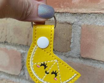 Lemon Keychain - Embroidered Keychain - Lemon Bag Charm - Lemon Purse Charm - Lemon Charm - Lemon Slice - Zipper Pull - Yellow Keychain