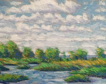 """Original Pastel Painting """"Windy Day, Tawas Point"""" 8x10"""