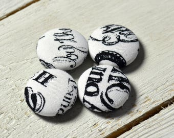 Fabric covered button magnets (4) –  Cotton Vintage Script pattern - Strong magnets