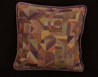 """18"""" x 18"""" Pillow Cover Purple Abstract Velvet Welting"""