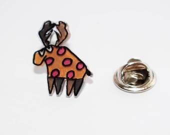 Orange Deer shrink plastic pin.