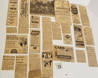 22 newspaper clippings 1956 ads articles illustrations Vintage paper ephemera lot art collage scrap supplies H