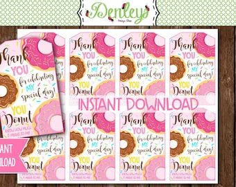INSTANT DOWNLOAD: Donut Thank You Tags, Donut Favor Tags, Donut Party (DN01)