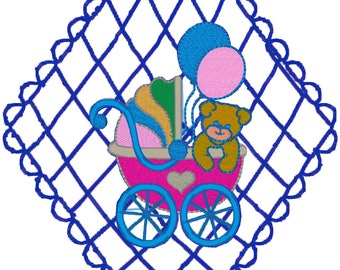 12-6x7 Baby Lace Machine Embroidery Designs. Zip files in Pes, Jef, Vp3, Dst formats.