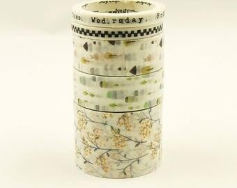 Salema - Japanese Washi Masking Tape Box Set - 5 rolls - 3.3 Yard (each roll)