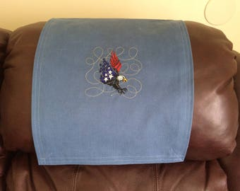 Eagle Design, Recliner Chair Cover, Headrest  Furniture Protector, Upholstery, Embroidered American Eagle Design, Blue Twill, 14x30