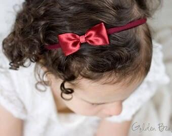 Dark Red Headbands Bows - Flower Girl Headband - Small Satin Dark Red Bow Handmade Headband - Infant to Adult Headband