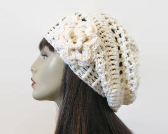 Cream Beanie with Flower Cream Slouch Hat with Flower Knit Slouch Hat Off White Beanie Cream Slouchy Beret  with Flower Cream Crochet Cap