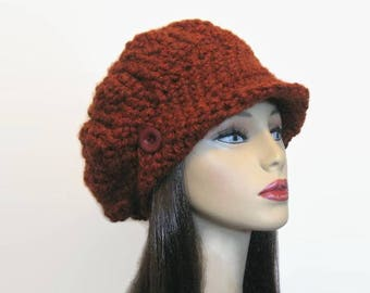 Rust Slouchy Newsboy Hat Crochet Brick Slouch Knit newsboy rust Newsboy Cap Adult Rust Cap with Visor Rust slouch Beret  Rust Crochet Cap