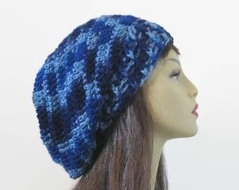 Dark Blue Slouch hat Navy Blue Crochet Slouchy Hat Oversized knit Slouch Hat  Blue Slouch Beret Blue Knit oversize Tam  Oversize  Beanie