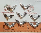 24 pcs per pack 26x8mm Heart Wing Beads Antique Silver Finish Lead Free Pewter