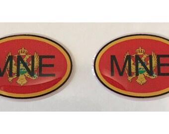 """Montenegro MNE Domed Gel (2x) Stickers 0.8"""" x 1.2"""" for Laptop Tablet Book Fridge Guitar Motorcycle Helmet ToolBox Door PC Smartphone"""