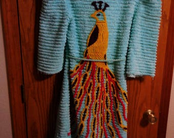 Vintage TURQUOISE Chenille ROBE with PEACOCK - Plush Turquoise Lines and Colorful Peacock Vintage Chenille Bathrobe - -  Free Shipping