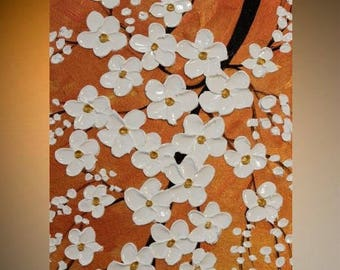 """SALE Original Modern 24""""Metallic coppers,golds, palette knife signature impasto white blossomsabstract oil painting by Nicolette Vaughan H"""