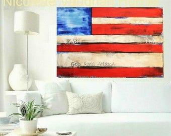 "SALE XLarge Flag Of Hope Oil Landscape Abstract Original 40""x30"" palette knife impasto oil painting by Nicolette Vaughan Horner"