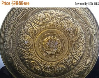 Now On Sale Large Gold Ornate Flower Designed Tin - Mid Century Home Decor Collectible - Organization Storage Solution