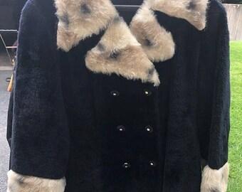 On Sale Vintage Leopard Coat 1960's Faux Fur Jacket Mid Century Mad Men Mod Winter Essential Stylish Hipster  Size Large