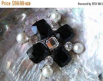 On Sale Rhinestone Pin, Vintage Black & Faux Pearl Brooch, Maltese Cross Pendant Jewelry