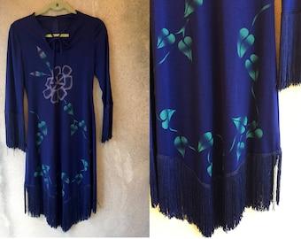 Navy Blue FRINGE Floral Long Sleeve Hippie Bohemian Assymetrical Dress