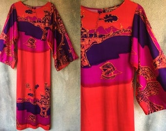 Bold Orange Pink Clashing Abstract Print Pattern Wide Sleeve Maxi Long Gown Dress