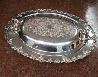 Majestic Old English Reproduction Silver Plated Copper Covered Serving Dish