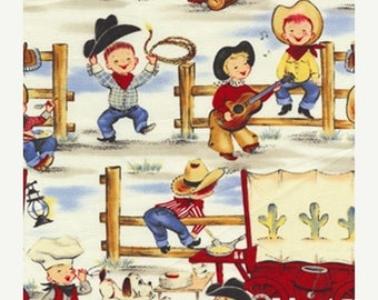 20 % off thru 7/4 LIL COWPOKES Michael Miller fabric by the 1/2 yard cowboy kids ponies horses