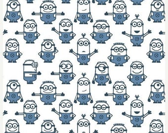 20 % off thru 7/4 ONE IN A Minion-by the half yard by Qt fabrics-blue minions lined up on white- 23992-Z