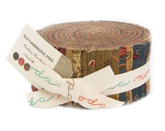 12% off thru July OLD CAMBRIDGE PIKE Moda Jelly Roll fabric 40 2.5 inch strips 8320Jr  Barbara Brackman Civil War Reproductions scrap bag