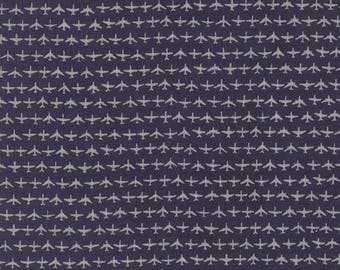 12% off thru July FLIGHT-by the yard by Moda & JANET CLARE-grey gray aeroplanes air plane jets on navy blue 1410-20