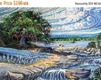12% off thru July DREAMSCAPES~Northcott DIGITALLY PRINTED Fabric panel cotton quilt fabric~14 by 21 in~Dp21295~tree, river, sky, clouds