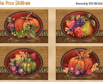 12% off thru July fabric panel THANKFUL HARVEST- makes set of 4 placemats- by Wilmington Fabrics- 24 by 44 inches-PUMPKINS, gourds, instruct