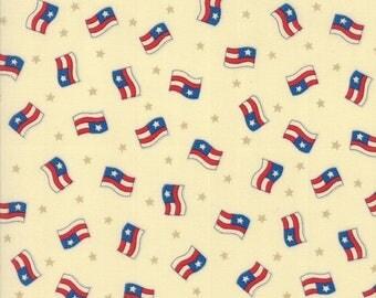 20% off thru 2/22 SEW AMERICAN- by the yard Moda fabric USA flags on cream background cotton 19781-11 patriotic, Americana Deb Strain